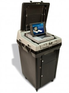 electronic machine with lid open to show scanning area